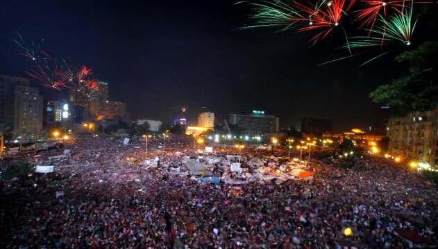 Fireworks light the sky as Morsy opponents celebrate