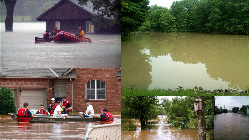 Flooding in Indiana, Oklahoma, Arkansas, and Canada
