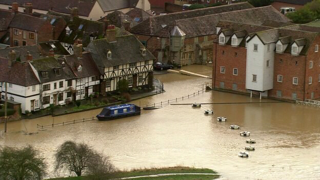 Flooding in Tewkesbury, Gloucestershire, as rivers burst their banks
