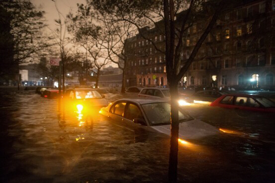 Floodwaters from Sandy rushed into New York City late Monday