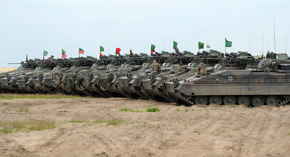 German army tanks line up near Russia's border with Lithuania