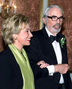 "Actor Gregory Peck protests:  ""But I'm not finished speaking!""; Hillary Clinton replies with a grin: ""Yes, you are"""