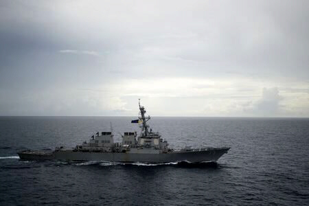 Guided-missile destroyer USS Decatur operates in South China Sea