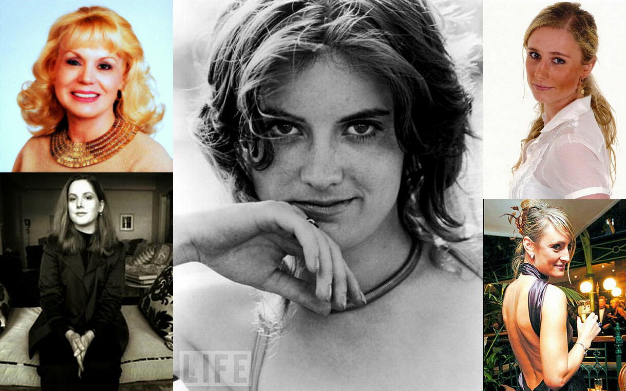Center: Patty Hearst, upper left: Mary Jacqueline Levitz, lower left: Christa Worthington, upper right: Martine Vik Magnussen, lower right: Kinga Legg