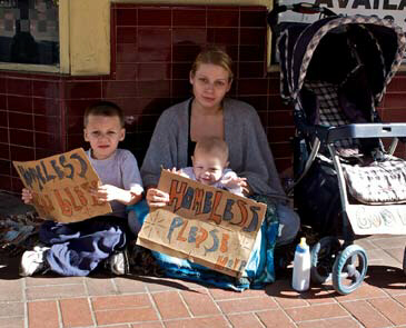 Homeless woman with children