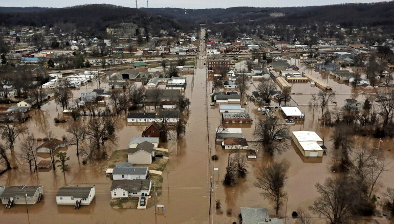 Homes flooded in Pacific, Missouri on December 29, 2015