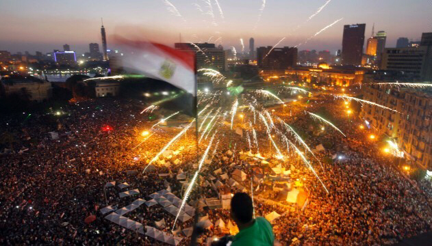 Hundreds of thousands of protesters fill the streets of Cairo