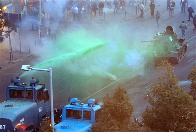 Hungarian police faced protesters in a Soviet-era tank