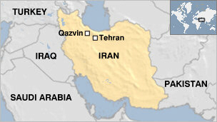 Iran map shows Qazvin location