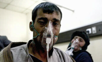 A man is treated with oxygen after inhaling chlorine