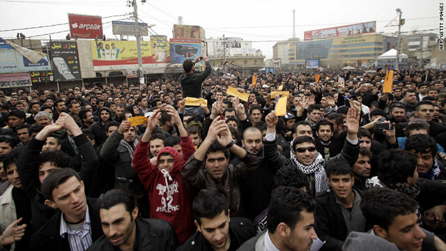 Iraqi Kurdish protesters demonstrated against the government in the city of Sulaimaniya on Sunday.
