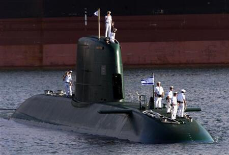 Israeli Dolphin-class submarine and crew in Suez Canal and Red Sea