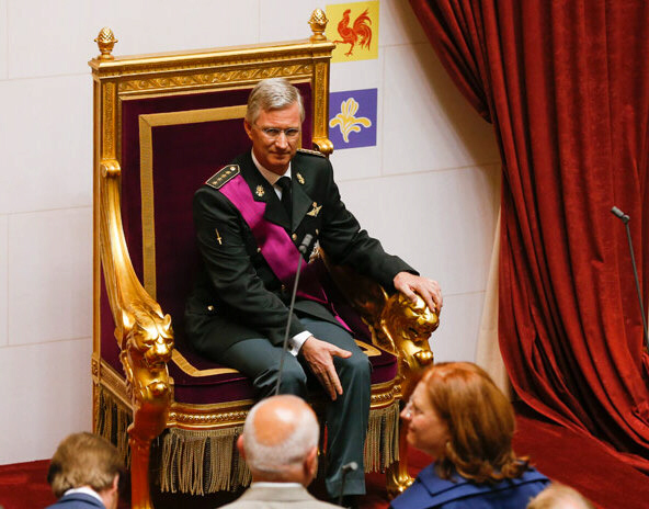 King Philippe seated on royal throne