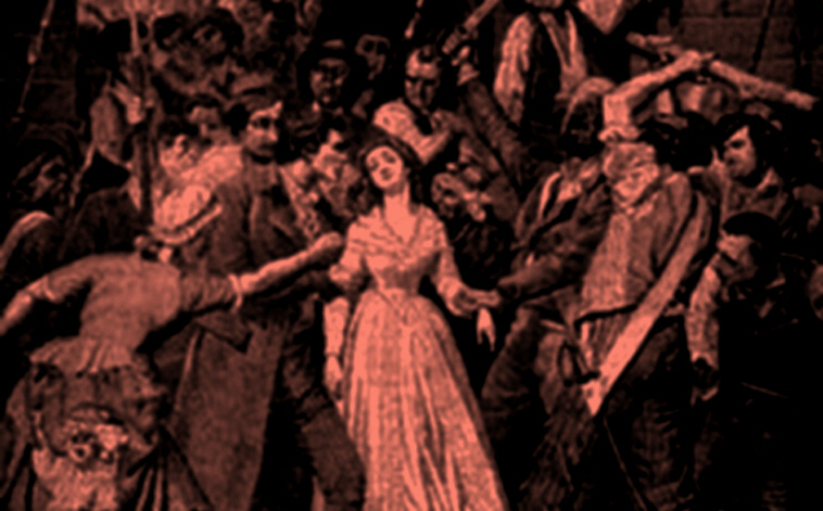 The brutal killing of Princess Therese de Lamballe at the hands of a French mob