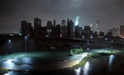 Lower Manhattan goes dark during superstorm Sandy, Monday, Oct. 29, 2012