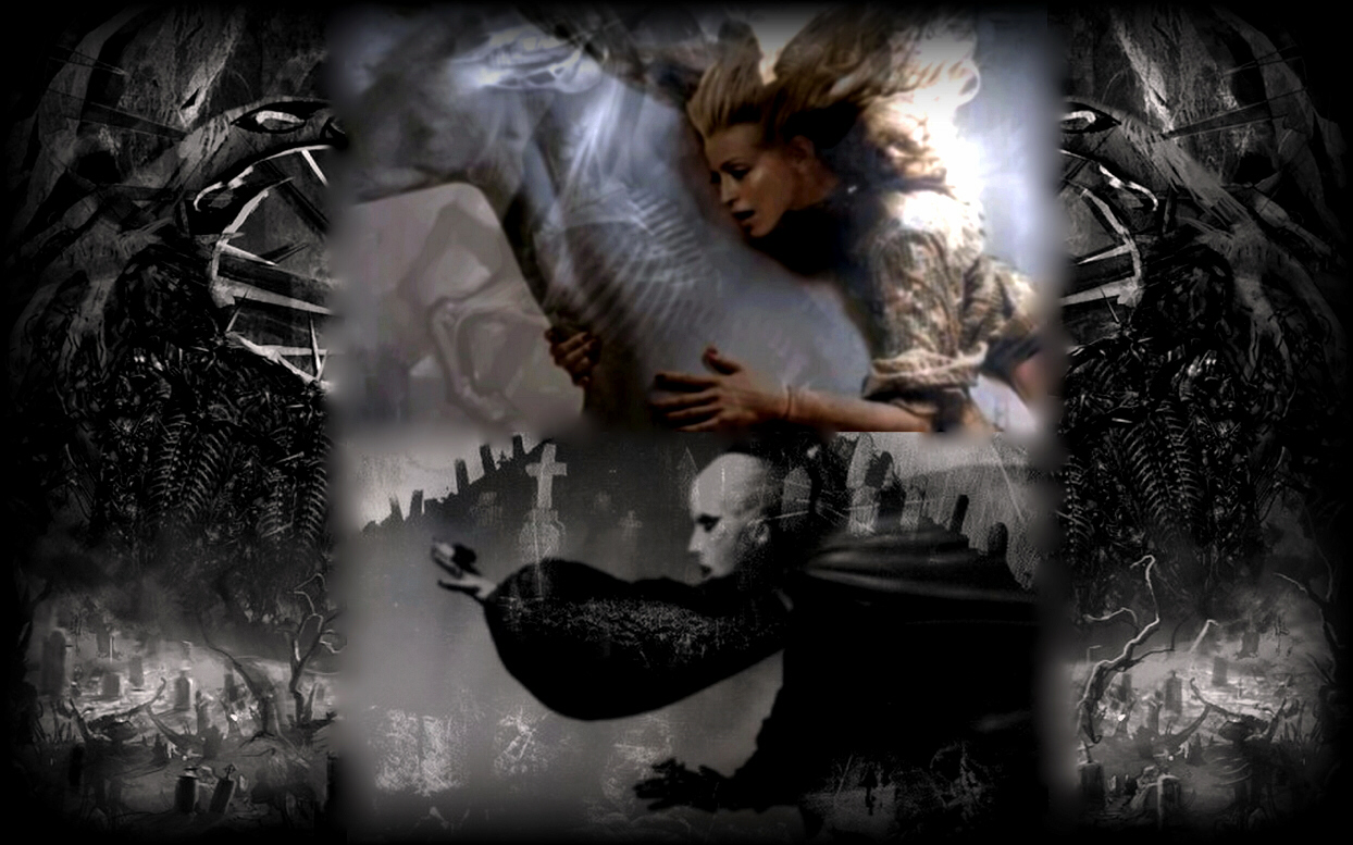 "Madonna and Lady Gaga as ""Death"" and ""Hades"" (collage and other graphics art effects © 2011 by Michael McClellan)"