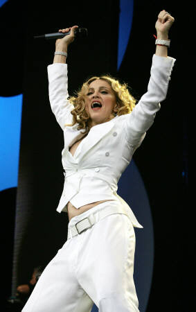 Madonna perfoming at Hyde Park on July 2, 2005.