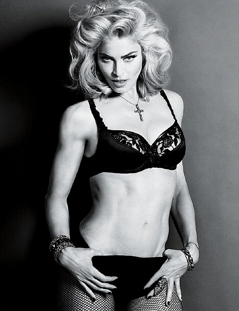 Madonna poses in a sexy photoshoot, torso reveals marks from fishnets