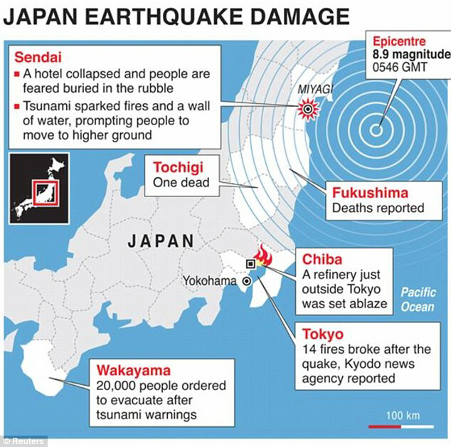 Map of destruction in Japan