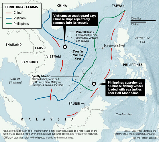 Map shows where China rammed Vietnamese vessels