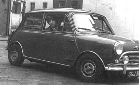 McCartney in Mini Cooper, circa 1966