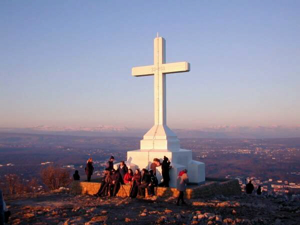 The Holy Cross at the peak of Cross Mountain in Bosnia