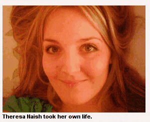 Theresa Naish hanged herself in bathroom shower