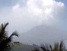 Mount Talang on Sumatra Island spews ash into the air, forcing thousands from their homes.