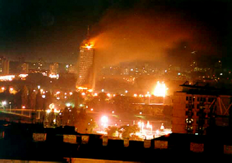 Nato bombs hit downtown Belgrade, May 1999