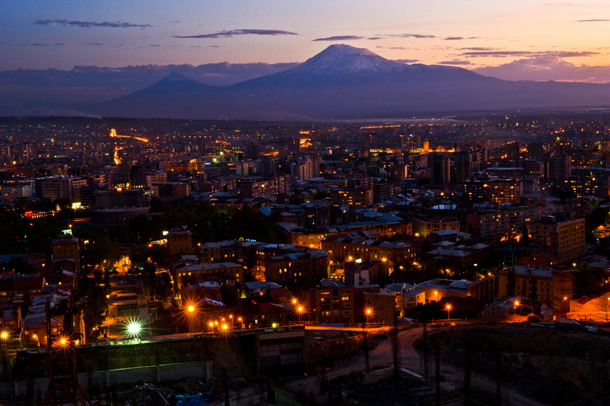 The sun sets behind the legendary Mount Ararat and Yerevan, the 2,790 year-old capital city of Armenia.