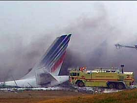 Everyone on board Air France Flight 358 survived, after it slid into a gully and burst into flames.