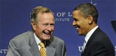 Obama and Bush Sr
