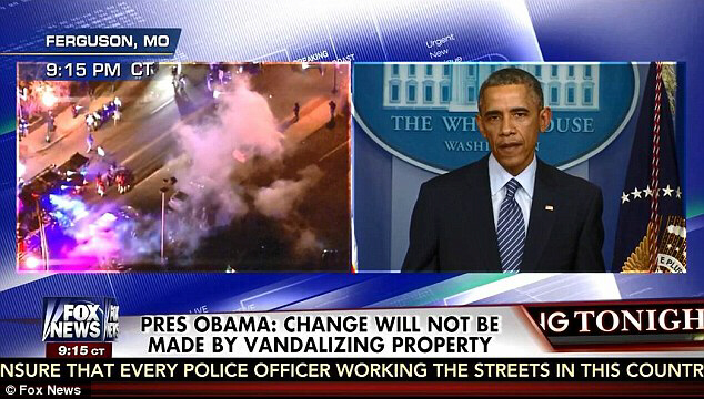 Obama pleads for calm while riots erupted in Ferguson