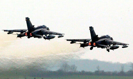 Operation Odyssey Dawn: Tornado GR4 fighter jets take off. Photograph: Andrew Parsons/PA
