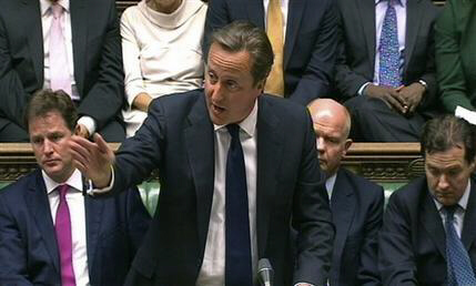 British Prime Minister David Cameron speaks during debate on Syria in Britain's parliament