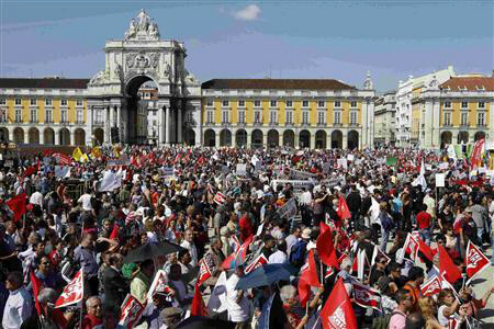 People protest against austerity at Lisbon's main square