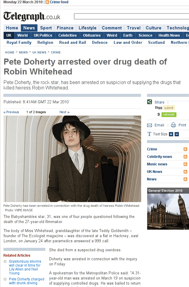 Pete Doherty arrested for drug murder of Robin Whitehead