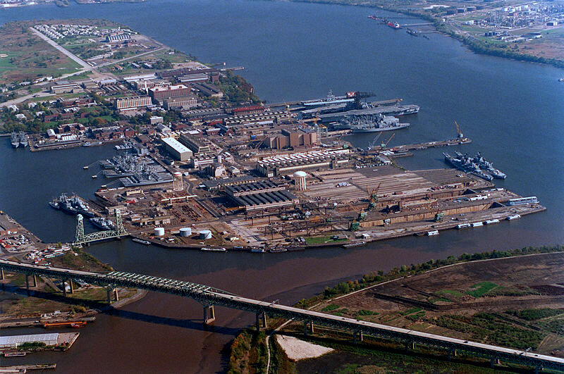 Confluence of the Schuylkill and Delaware rivers at the Philadelphia Naval Shipyard