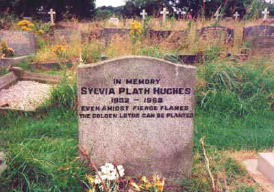 Grave of Sylvia Plath: Heptonstall Churchyard, Heponstall, Yorkshire, England. Epitaph: Even amidst fierce flames - the golden lotus can be planted.