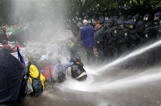 Police uses water canons at a demonstration