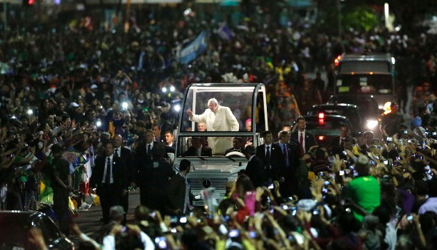Pope Francis makes way through crowd July 27 in Rio de Janeiro