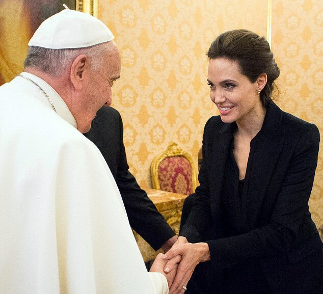 Pope Francis meets with Angelina Jolie