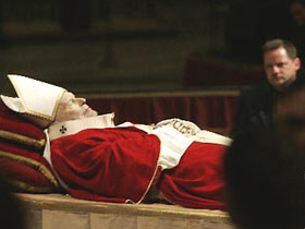 Pope John Paul II lies in state