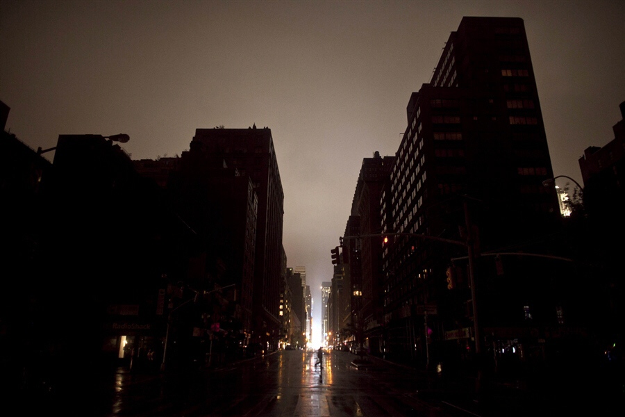 Power outage seen on Monday night in Manhattan, New York