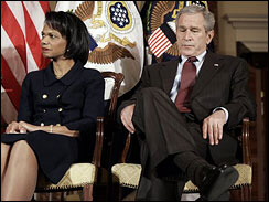 President Bush, right, and Secretary of State Condoleezza Rice listen to Deputy Secretary of State John Negroponte, not pictured, speak at the State Department on Feb. 27, 2007. (AP)