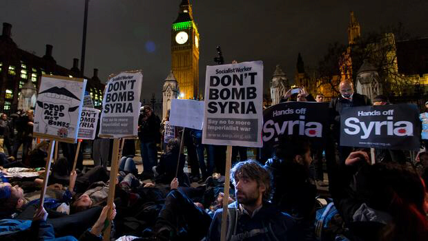 Protesters in London against UK strikes in Syria