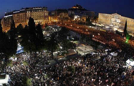 Protesters rally against austerity at Syntagma square in Athens