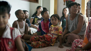 Refugees who fled fighting in Myanmar