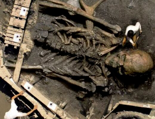Unearthed skeleton of a Rephaim giant
