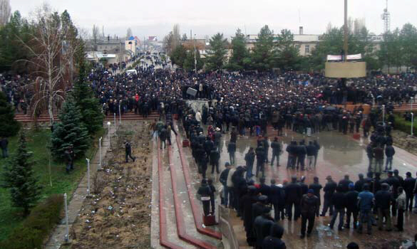 Riot police fought running battles with demonstrators in Bishkek